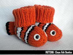 Clown Fish Baby Booties via Craftsy