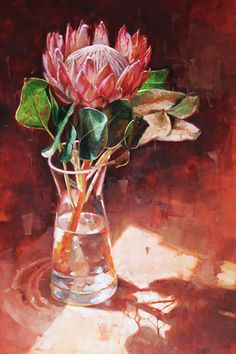 Protea King in the Sunlight Protea Art, Protea Flower, Botanical Drawings, Botanical Illustration, Rare Flowers, Beautiful Flowers, South African Art, Flower Farmer, Clay Paint