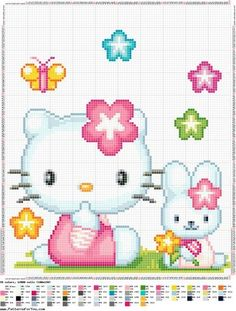 Sweet Hello kitty cross stitch charts free 08 Patterns will no longer need to be small enough to fit on a single screen and print on a single page. Cross Stitch For Kids, Cross Stitch Baby, Cross Stitch Animals, Counted Cross Stitch Patterns, Cross Stitch Charts, Cross Stitch Designs, Cross Stitch Embroidery, Embroidery Patterns, Modele Pixel Art