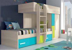 Cama tren infantil con diseño moderno de melamina color azul y verde(disponible en más colores). Fantástico dormitorio juvenil para amueblar una habitación para niños y una forma original para ahorrar espacio en casa.