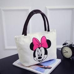 Canvas Women's Casual Tote Designer Lady Bag Cute Printing Hello Kitty Mickey Mouse Handbags Bolsas Shopping Bag Women Shoulder
