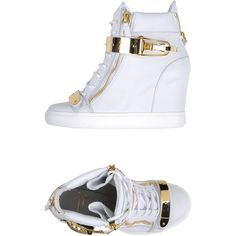 Giuseppe Zanotti Design High-tops & Trainers ($740) ❤ liked on Polyvore featuring shoes, sneakers, white, high top sneakers, white hi top sneakers, wedge heel sneakers, hi top wedge sneakers and hidden wedge sneakers