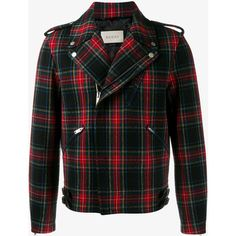 Gucci plaid biker jacket (16,445 CNY) ❤ liked on Polyvore featuring men's fashion, men's clothing, men's outerwear, men's jackets, outerwear, gucci, jackets, men, mens plaid jacket and mens wool outerwear