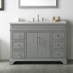 Legion Furniture Cool Grey Wood Quartz-top Sink Vanity (Assembled - Over 34 Inches - Grey - MDF - 6 or More Drawers - Single - Undermount - Vanity Set With Mirror, Wood Vanity, Single Bathroom Vanity, Vanity Sink, Bath Vanities, White Bathroom, Small Bathroom, Single Vanities, Bathroom Ideas