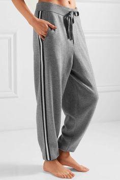Olivia von Halle   London striped silk and cashmere-blend sweatshirt and track pants set   NET-A-PORTER.COM