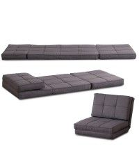 HOMCOM Single Sofa Bed Fold Out Guest Chair Foldable Futon Sleeper Couch Lounger Bedding Pillow Grey AosomUK - Home & Garden Specialist