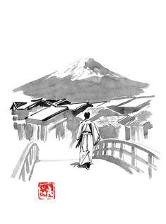 #fuji #edo #japan #samurai #sumie Samurai Drawing, Sumi E Painting, Mountain City, France Drawing, Landscape Materials, Landscape Drawings, Medium Art, Fuji, Buy Art