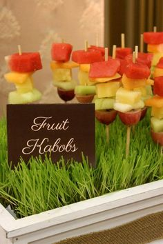 Fruit Kabobs.... perfect for when its your turn to be snack helper for the class.  Much better than snacks in wrappers!