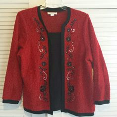 Sweater jacket Red and black floral accent jacket Cathy Daniels Jackets & Coats