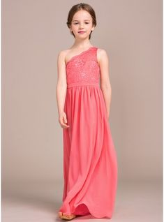 a77ac071a2 A-Line Princess One-Shoulder Floor-length Chiffon Lace Sleeveless Flower  Girl