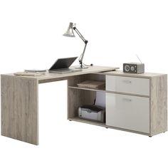 Bureau d'angle Diego - chêne gris : joli espace bureau