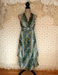 Green Silk Dress Print Dress Beaded Dress by MagpieandOtis on Etsy