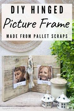 If you're looking for a fun way to display some of your special snaps, you're going to love this hinged picture frame made from scrap wood. Both the outside and inside can be customized to suit your décor style and it's super easy to change the photos or pics around without having to remove the glass and backing first. They make lovely gifts too. #HingedPictureFrame #DIYPictureFrame #TableTopFrame #ACraftyMix #DIYHomeDecor #EasyDIYFrame Diy Home Crafts, Diy Craft Projects, Pallet Projects, Project Ideas, Family Photo Frames, Picture Frames, Family Photos, Wood Home Decor, Diy Home Decor