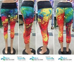 New Fall Capris in awesome painted rainbow colors! You will love these amazing capris with pockets big enough to store pretty much any phone! Rainbow Painting, Running Gear, Rainbow Colors, Fitness Fashion, Capri, My Style, Awesome, Amazing, Pretty