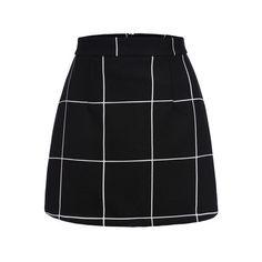 SheIn(sheinside) jupe courte plaid -Noir (19 CAD) ❤ liked on Polyvore featuring skirts, mini skirts, bottoms, saias, faldas, noir, sexy short skirts, tartan mini skirt, summer skirts and sexy plaid skirt
