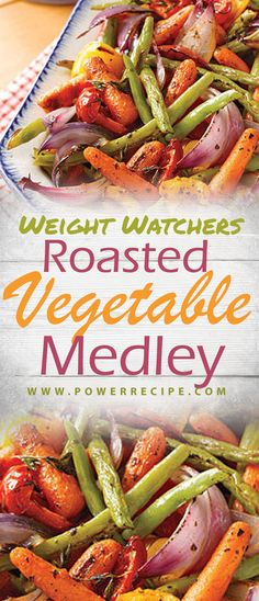 Roasted Vegetable Medley - All about Your Power Recipes - weight watchers recipe - Ww Recipes, Veggie Recipes, Vegetarian Recipes, Healthy Recipes, Weight Watcher Vegetable Recipes, Drink Recipes, Bariatric Recipes, Veggie Meals, Food Cakes