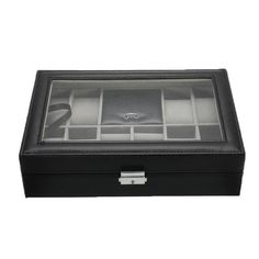 Black Leather Watch and Jewelry Multi Functional Storage Box - InnovatoDesign Brown Leather Watch, Grey Leather, Jewellery Storage, Jewellery Display, Wooden Watch, Watches, Jewelry, Jewelry Storage, Wooden Clock