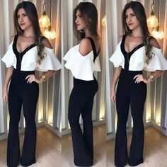 Women Two Piece Set Jumpsuit Colour:- Black Size:- Small To XL Price:- Re Shipping Worldwide WhatsApp Cool Outfits, Fashion Outfits, Womens Fashion, Fashion Trends, Mode Rockabilly, Start Ups, Mode Style, Dress To Impress, Casual Looks