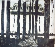 Anselm Kiefer  -  Der Rhein, 1982. Woodcut in several parts on blotting and handmade paper, mounted on canvas; 300 x 380 cm,    118 x 150""