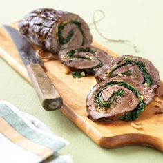 Flank Steak Roll with Spinach and Garlic