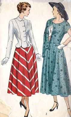 1940s Misses One Piece Dress and Jacket Vintage by MissBettysAttic, $23.00