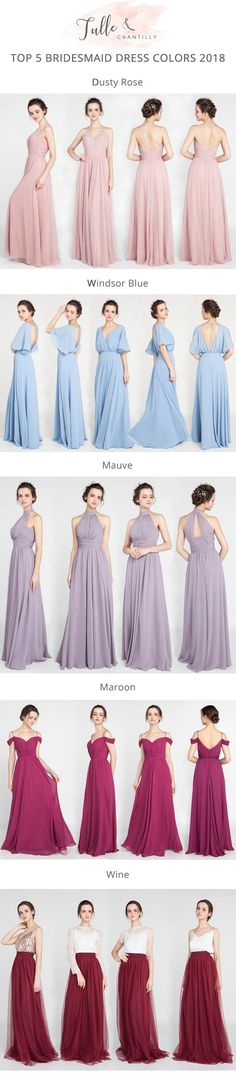 top 5 bridesmaid dress colors for 2018 wedding trends #bridalparty #wedding #bridesmaiddress