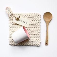 """Image of Carré au crochet coton/corde """"ÉCRU"""" (16 cm)"""