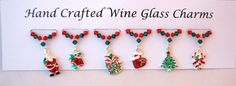 Christmas Wine Glass Charms Christmas Party by Makewithlovecrafts, Christmas Wine, Pink Christmas, Christmas Traditions, Christmas Themes, Wine Glass Charms, Stocking Fillers, Secret Santa, Teacher Gifts, My Etsy Shop