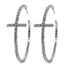 Sparkly Elegant Crystal Cross Hoop Earrings in Silver Tone *** Find out more about the great product at the image link.