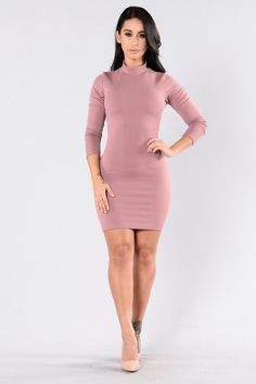 - Available in Eggplant and Mauve - Fitted Dress - Midi Length - Mock Neck - Long Sleeve - Open Back - Lower Back Strap Detail - Made in USA - 95% Polyester 5% Spandex