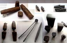 Roman Coining Dies and Mint Equipment Musée d'Archéologie National Paris. Coin Design, Antique Coins, Ancient Romans, Metal Casting, Stone Carving, Roman Empire, Blacksmithing, Mint, Tools