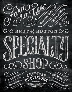 American Provisions by Dan Gretta, via From up North Chalkboard Typography, Chalk Lettering, Chalkboard Designs, Creative Lettering, Types Of Lettering, Typography Letters, Typography Logo, Lettering Design, Blackboard Chalk