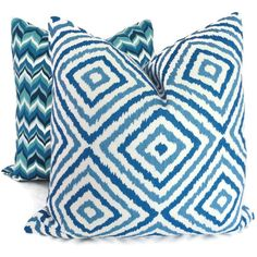 Jonathan Adler Blue and Turquoise Flame Pillow Cover by PopOColor