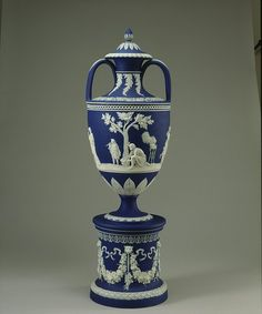 Vase & Cover - ca. 1850 Josiah Wedgewood & Sons -  Blue Jasper dip, with white cameo decoration