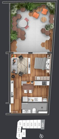 Studio Apartment Design, Studio Apartment Decorating, Apartment Layout, Layouts Casa, House Layouts, Small House Plans, House Floor Plans, Apartment Floor Plans, Tiny Apartments