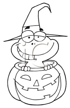Royalty Free Clipart Image of a Frog in a Jack-o-Lantern
