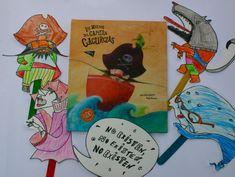 """Imprimible gratis de títeres de palo, de los personajes del libro infantil """"los miedos del capitán cacurcias"""""""