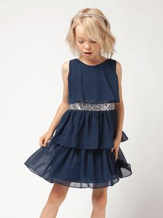 Navy Blue Sequin Belt Tiered Chiffon Dress
