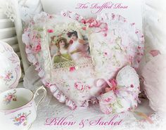 Delicate Roses And Image Heart Pillow With Sachet