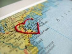 embroider a map. an idea for scrapbook layout (or frame) Travel Scrapbook, Scrapbook Pages, Scrapbook Photos, Scrapbook Ideas For Couples, Wedding Scrapbook, Arts And Crafts, Paper Crafts, Diy Crafts, Valentine Love