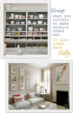 Open shelving for dishes.
