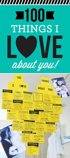 The best anniversary gift or surprise- 100 Things I Love About You Sticky Note Heart. There's even a FREE printable template so you can print right on top of the sticky notes. #anniversarygift