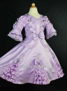 Purple Flower Girl Party Victorian Princess Dress 4y-5y. circa 1890s.