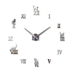 2017 hot sale wall clock acrylic mirror roman cat large clocks quartz watch large living room decorative europe