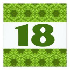 Birthday Party Green Geometric Star Pattern W1117A Card