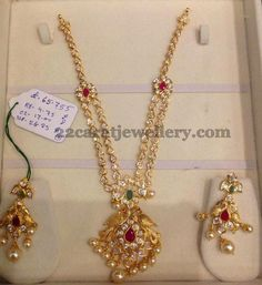 Jewellery Designs: 65 Grams Polki Necklace