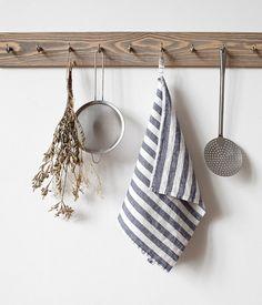 Wide Black Stripe Stone Washed Linen Tea Towel