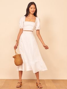 This is a two piece set with a square neck cropped top with puff sleeves, and a midi length, trumpet skirt. The Yucca is slim fitting in the bodice with a relaxed fitting skirt. Fitted Skirt, Lace Skirt, Trumpet Skirt, Two Piece Dress, White Two Piece Outfit, Classy Dress, Slow Fashion, School Fashion, Fashion Brands