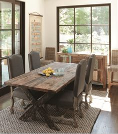 refinished & sun bleached antique pine harvest/farm dining table