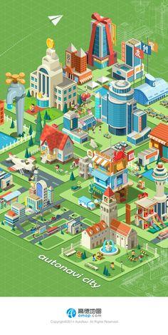 cjshadow设计经验谈6-基于环形设计论的功能引导图设计|GUI|原创/自译教程|cjshadow - 设计文章/教程分享 - 站酷 (ZCOOL) Isometric Map, Isometric Drawing, Isometric Design, Cartoon House, Game Ui Design, Event Poster Design, City Illustration, Fantasy Landscape, Graphic Design Typography